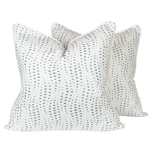 Blue Rippledrop Spotted Pillows, Pair