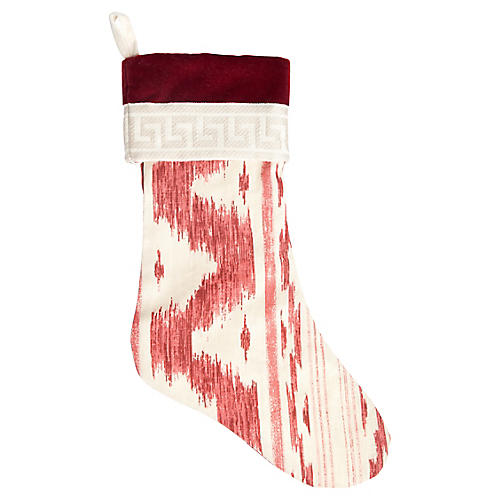 Garnet Ikat & Greek Key Stocking