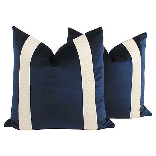 Navy Velvet Greek Key Pillows, Pair
