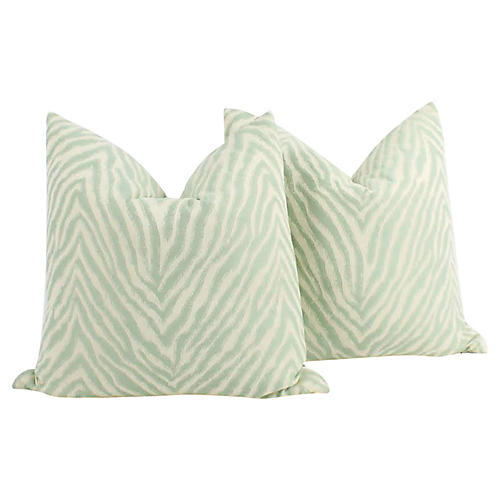 Seafoam Green Nairobi Pillows, Pair