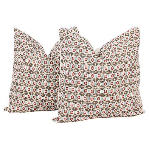 Ruby & Tan Ogee Linen Pillows, Pair