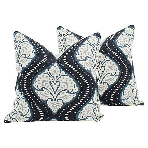 Blue Linen-Blend Batik Ogee Pillows, Pr