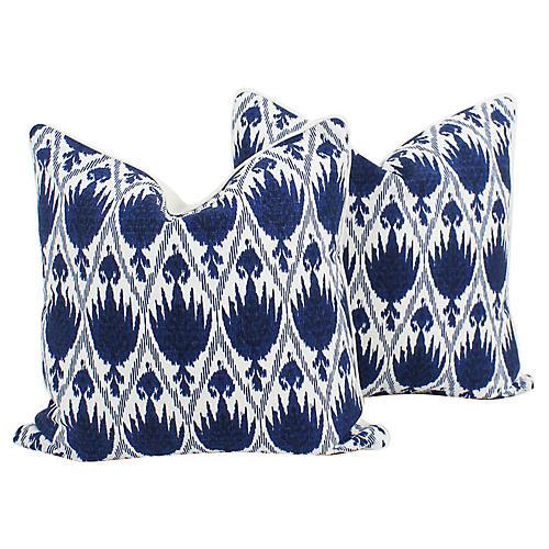 Blue & Ivory Linen Ikat Frey Pillows, Pr