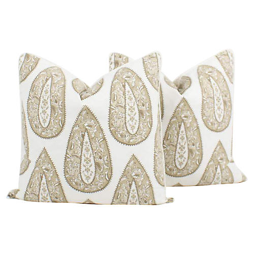 Batik Teardrop Cream Pillows, Pair