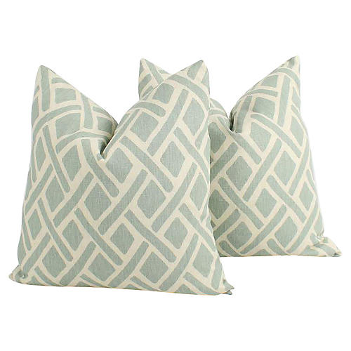 Seafoam Tribal Linen Pillows, Pair