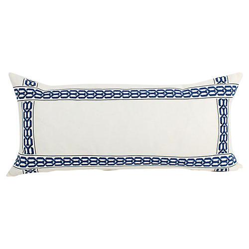 Ivory Linen Lattice Lumbar Pillow