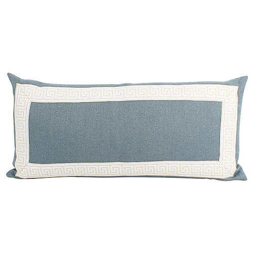 Blue Greek Key Lumbar Pillow