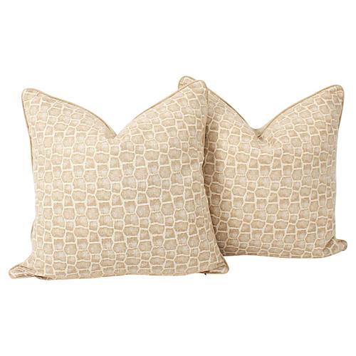 Camel Croc Reptile Pillows, Pair