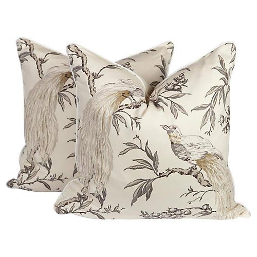 Chinoiserie Bird Pillows, Pair