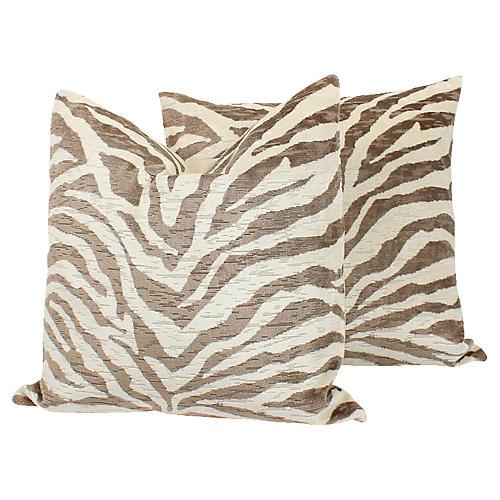 Cut Velvet & Linen Zebra Pillows, Pair