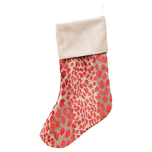 Cranberry Velvet Cheetah Stocking