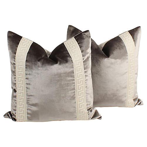 Platinum Greek Key Pillows, Pair
