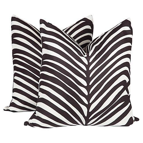 Schumacher Zebra Palm Pillows, Pair