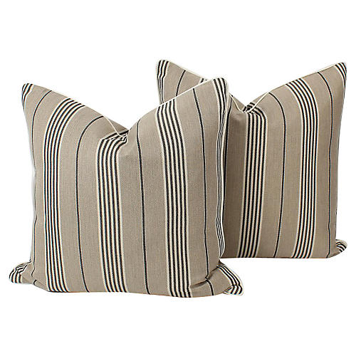 Harlan Ticking Stripe Pillows, Pair
