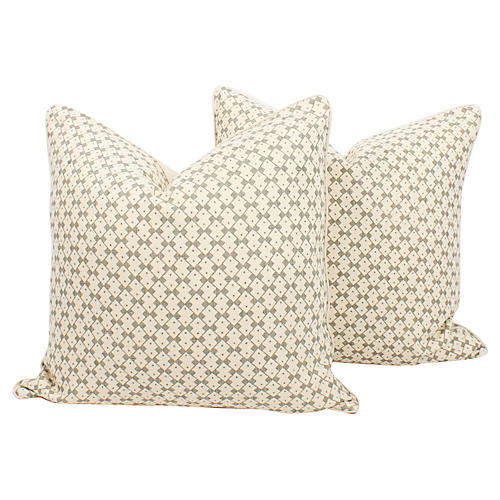 Schumacher Domino Linen Pillows, Pair