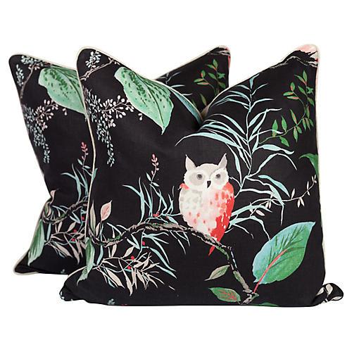 Black & Pink Linen Owl Pillows, Pair