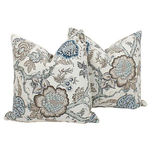 Blue & Taupe Peony Pillows, Pair