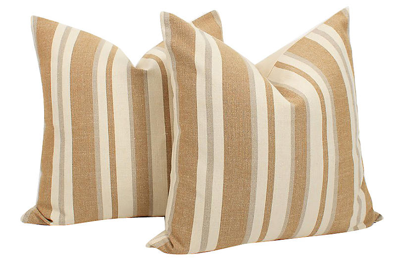 Belgian Linen Ticking Stripe Pillows, Pr