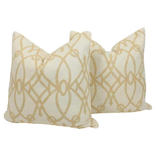 Cream & Ivory Linen Trellis Pillows, Pr