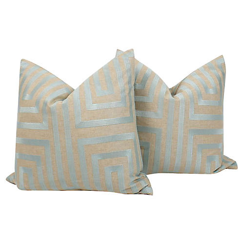 Pale Blue Embroidered Linen Pillows, Pr