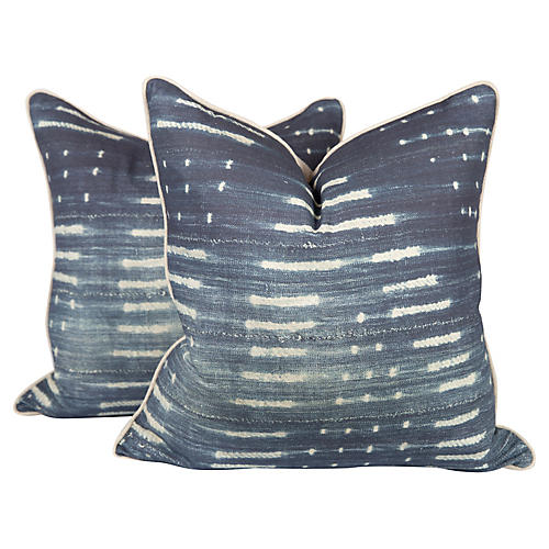 Blue Tribal Linen-Blend Pillows, Pair