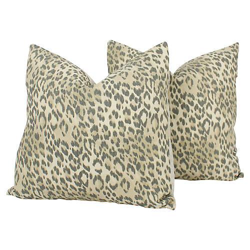 Flax & Pewter Linen Leopard Pillows, S/2