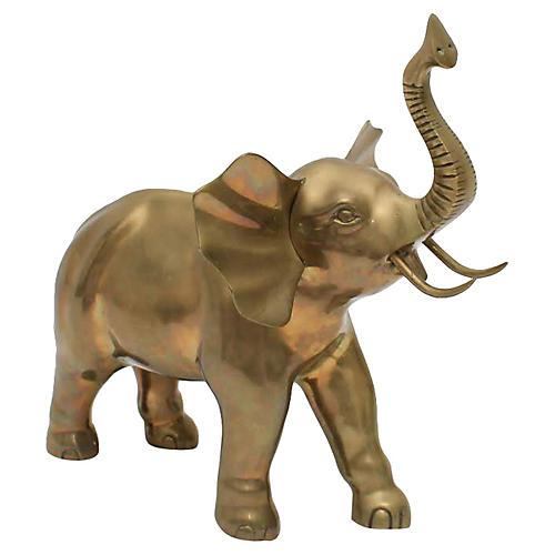 Midcentury Brass Elephant Figurine