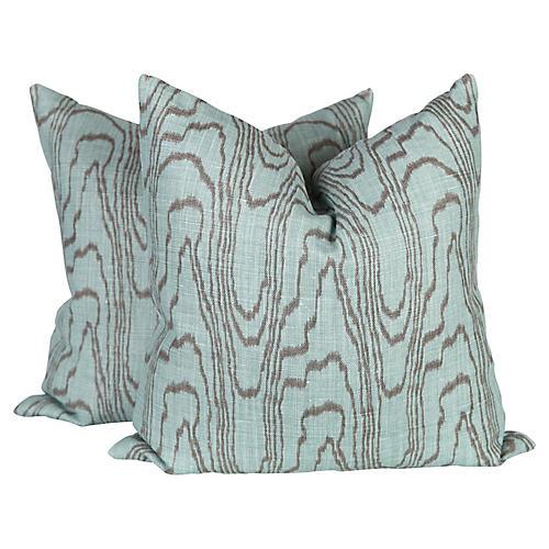 Agate Teal Linen Pillows, Pair