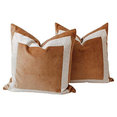 Caramel Velvet Greek Key Pillows, Pair