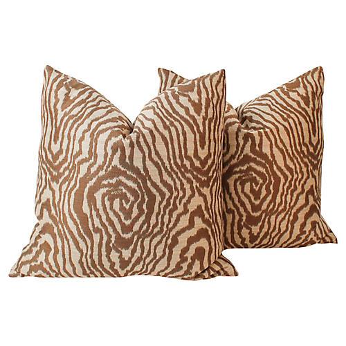 Sateen Faux-Bois Pillows, Pair