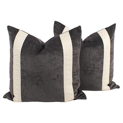 Iron Velvet Greek Key Pillows, Pair