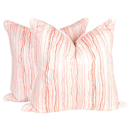 Abstract Pink Squiggle Pillows, Pair