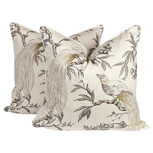 Gray & Ivory Chinoiserie Pillows, Pair
