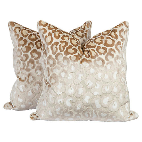Cream Cut-Velvet Leopard Pillows, Pair