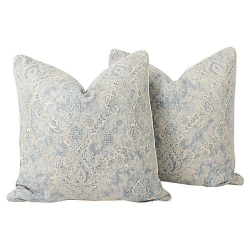 Linen & Velvet Batik Pillows, Pair