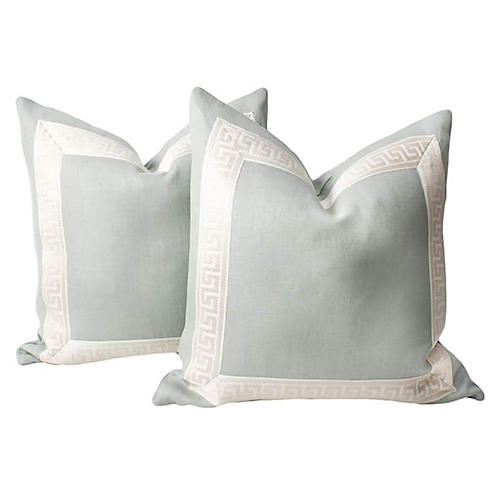Mint Linen Greek Key Pillows, Pair