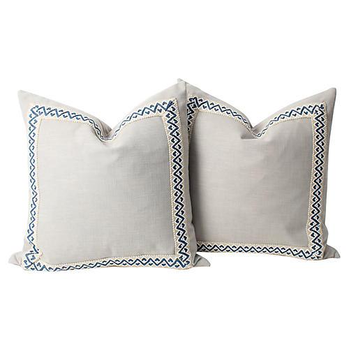 Gray Linen Fretwork Pillows, Pair
