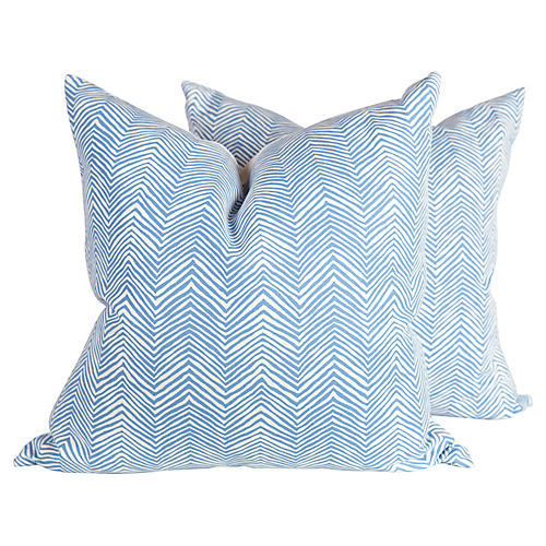 French Blue Zigzag Pillows, Pair