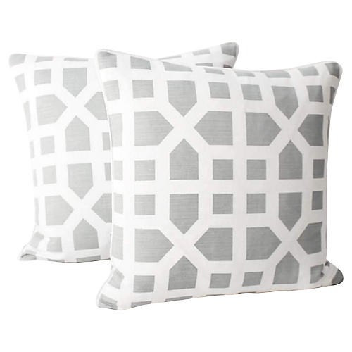 Dusk Avignon Trellis Linen Pillows, Pair