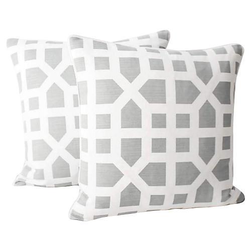 Dusk Avignon Trellis Linen Pillows, Pair