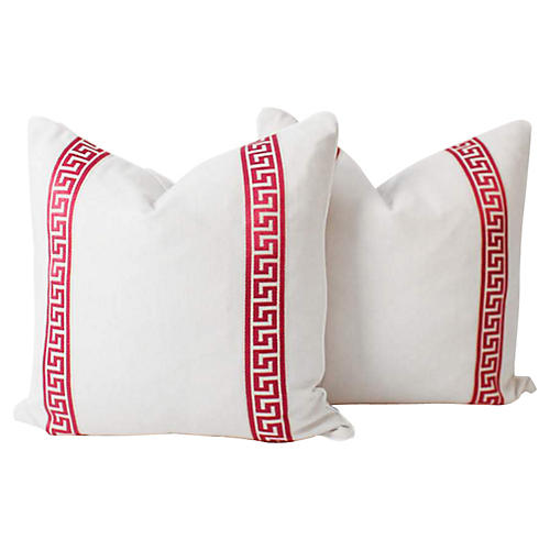Ivory & Raspberry Greek Key Pillows, S/2