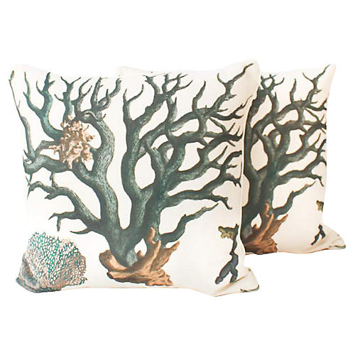 Linen-Blend Coral Reef Pillows, Pair
