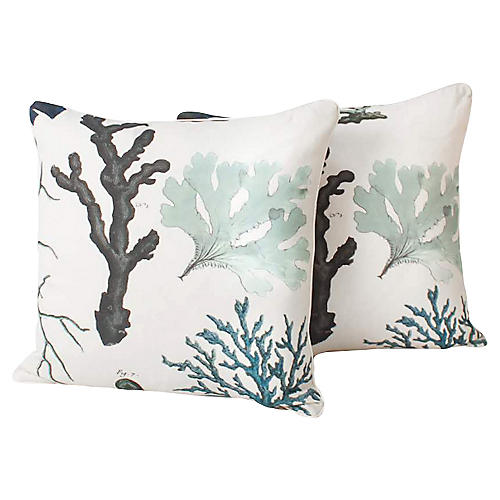 Coral Reef Linen-Blend Pillows, Pair