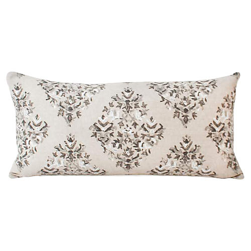 Taupe Batik Lotus Blocked Lumbar Pillow