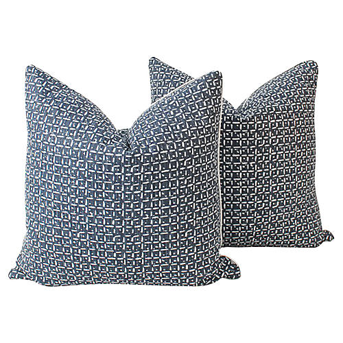 Indigo Abstract Squares Pillows, Pair