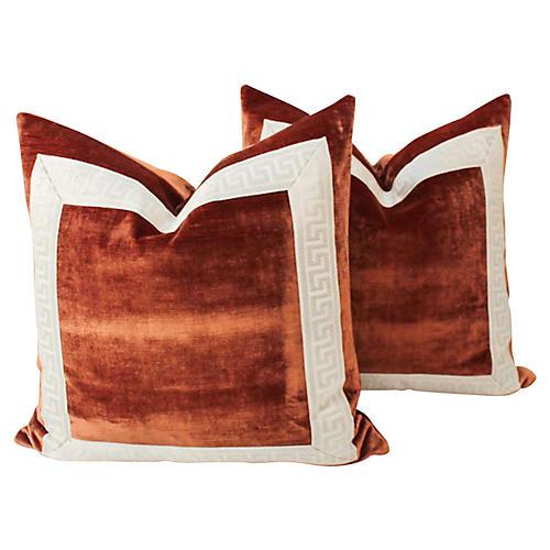 Copper Velvet Greek Key Pillows, Pair
