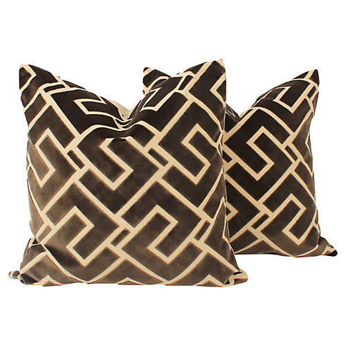 Mink Cut-Velvet Pillows, Pair