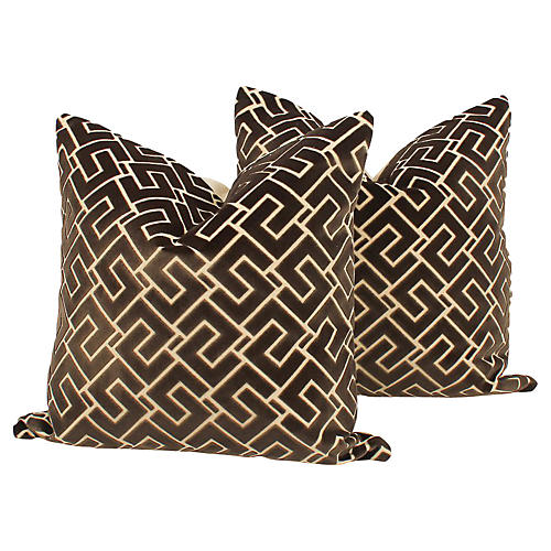 Mink Cut-Velvet Geometric Pillows, Pair