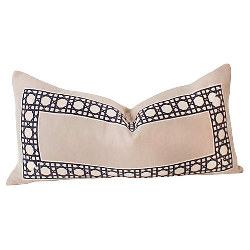 Navy & Gray Trellis Lumbar Pillow