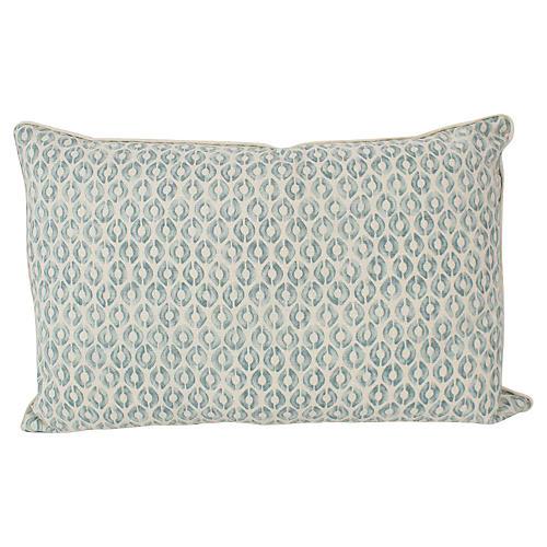 Seafoam Linen Ogee Lumbar Pillow